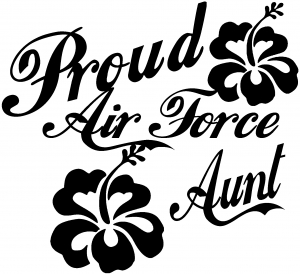 Proud Air Force Aunt Hibiscus Flowers Military car-window-decals-stickers