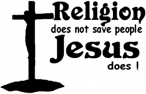 Religion Does Not Save People Jesus Does Christian car-window-decals-stickers