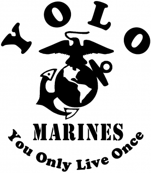 YOLO You Only Live Once Marines Military car-window-decals-stickers