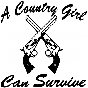 a country girl can survive crossed pistols car or truck window decal