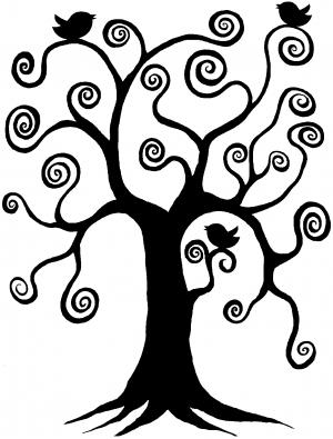 Swirl Tree With Birds Swirls car-window-decals-stickers