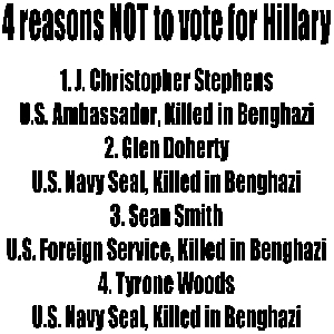Reasons NOT To Vote For Hillary Political car-window-decals-stickers