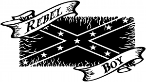 Rebel Boy with Rebel Flag Country car-window-decals-stickers