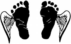 Baby Footprints Angel Wings In Memory Of car-window-decals-stickers