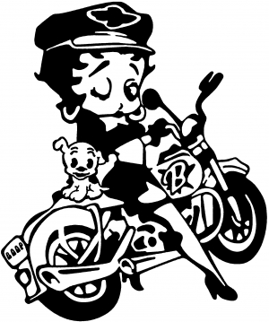 Betty Boop On Motorcycle With Dog