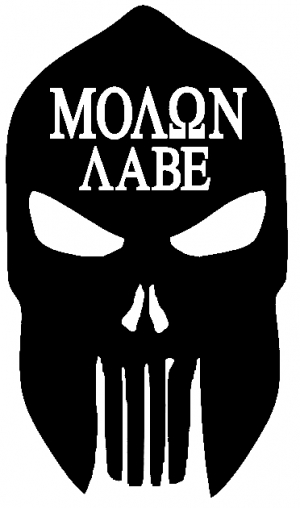 Punisher Skull Spartan Helmet Molon Labe Car Or Truck