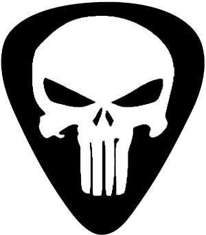 Punisher Skull Guitar Pick Car Or Truck Window Decal