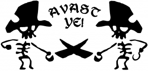 Avast Ye Pirate Skeleton Duel Skulls car-window-decals-stickers