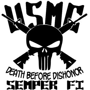 USMC Semper Fi Punisher Death Before Dishonor