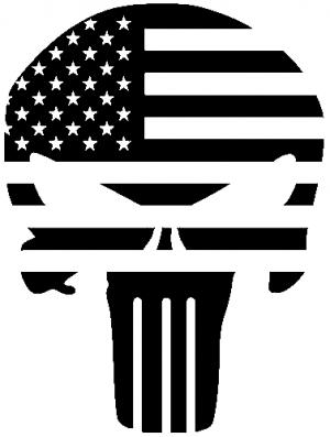 Punisher Skull With US Flag Horizontal