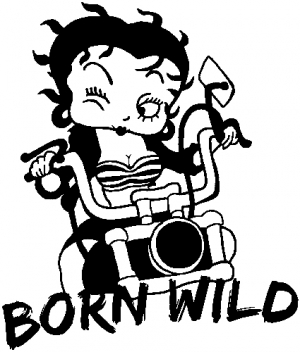 Betty Boop Born Wild Motorcycle Car Or Truck Window Decal