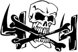 Skull and Cross Bones 4X4 Reversed Off Road car-window-decals-stickers