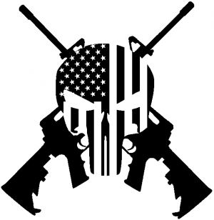 Punisher American Flag Crossed AR15 Guns