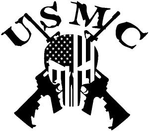 USMC Punisher Skull US Flag Crossed AR15 Guns Military car-window-decals-stickers
