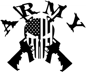 ARMY Punisher Skull US Flag Crossed AR15 Guns