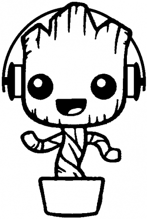 Baby Groot Dancing With Headphones