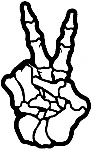 Skeleton Hand Peace Sign