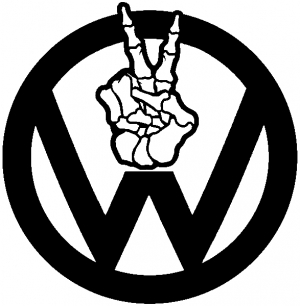 VW Volkswagen Skeleton Peace Sign Hand