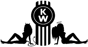 Kenworth KW Logo with Sexy Mudflap Angel and Devil Good and Bad Girls