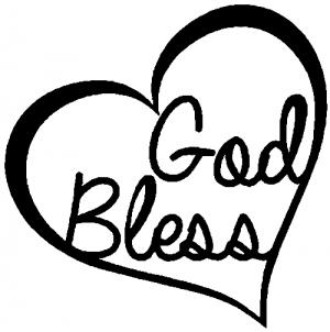 God Bless Inside Heart Christian car-window-decals-stickers