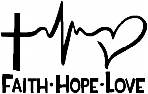 Faith Hope Love Cross and Heart Heartbeat  Christian car-window-decals-stickers