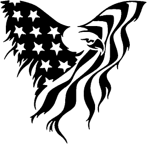Tattered American Flag Draped Bald Eagle Patriotic car-window-decals-stickers