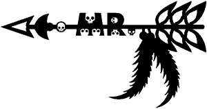 MR Tribal Skull Arrow with Feathers Skulls car-window-decals-stickers