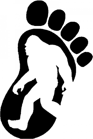 Bigfoot Sasquatch In Bigfoot Print Sci Fi car-window-decals-stickers