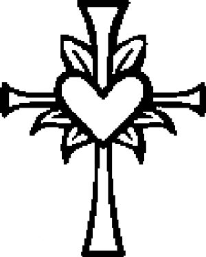 Cross with Heart in middle Christian car-window-decals-stickers