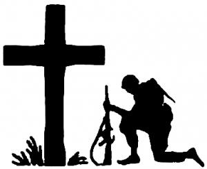 Troop Kneeling at Cross