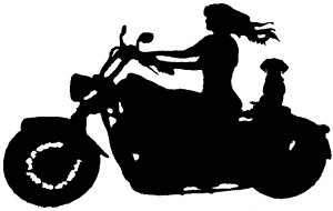 Women Biker With Jack Russell Terrier