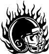 Flaming Football Helmet