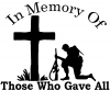 In Memory Of Troops Military Car or Truck Window Decal