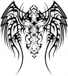 Tribal Wings and Cross Decal