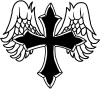 Christian Cross With Angel Wings Decal
