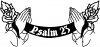Psalm 23 Scroll with praying hands and roses decal