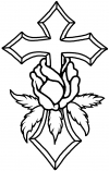 Cross With Rose Decal Christian car-window-decals-stickers