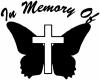 In Memory Of Butterfly with Cross Decal Christian car-window-decals-stickers