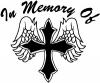 In Memory Of Cross with Wings Decal Christian car-window-decals-stickers