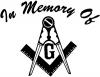 In Memory Of Masonic Square Decal