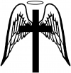 Angel Wings Cross Halo Christian Decal