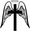 Angel Wings Cross Halo Christian Decal