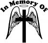 Angel Wings Cross Halo In Memory Decal