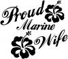Proud Marine Wife Hibiscus Flowers Decal