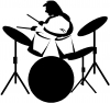 Drummer Outline Line Art Decal