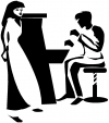 Man Woman Piano Line Art Decal