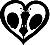 Lovebirds Kissing In Heart Decal