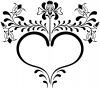 Heart with Flower Vines Decal