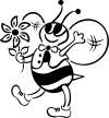 Cute Honey Bee with Flower Decal