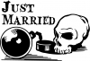 Just Married Ball and Chain Skull Decal Skulls car-window-decals-stickers